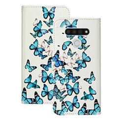 Blue Vivid Butterflies PU Leather Wallet Case for LG K51