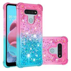 Rainbow Gradient Liquid Glitter Quicksand Sequins Phone Case for LG K51 - Pink Blue