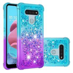 Rainbow Gradient Liquid Glitter Quicksand Sequins Phone Case for LG K51 - Blue Purple