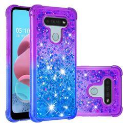 Rainbow Gradient Liquid Glitter Quicksand Sequins Phone Case for LG K51 - Purple Blue
