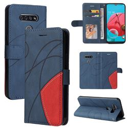 Luxury Two-color Stitching Leather Wallet Case Cover for LG K51 - Blue