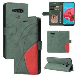 Luxury Two-color Stitching Leather Wallet Case Cover for LG K51 - Green