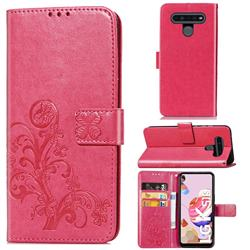 Embossing Imprint Four-Leaf Clover Leather Wallet Case for LG K51S - Rose Red