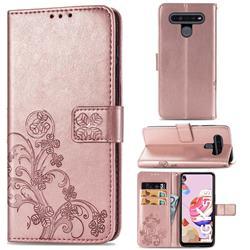 Embossing Imprint Four-Leaf Clover Leather Wallet Case for LG K51S - Rose Gold