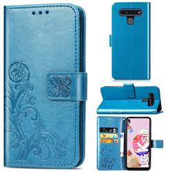 Embossing Imprint Four-Leaf Clover Leather Wallet Case for LG K51S - Blue