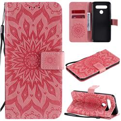 Embossing Sunflower Leather Wallet Case for LG K51S - Pink