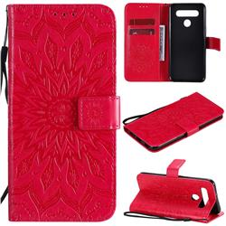 Embossing Sunflower Leather Wallet Case for LG K51S - Red