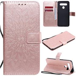 Embossing Sunflower Leather Wallet Case for LG K51S - Rose Gold