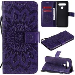 Embossing Sunflower Leather Wallet Case for LG K51S - Purple