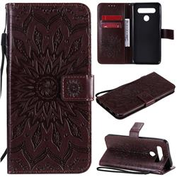 Embossing Sunflower Leather Wallet Case for LG K51S - Brown
