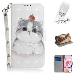Cute Tomato Cat 3D Painted Leather Wallet Phone Case for LG K51S