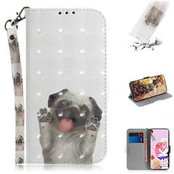 Pug Dog 3D Painted Leather Wallet Phone Case for LG K51S
