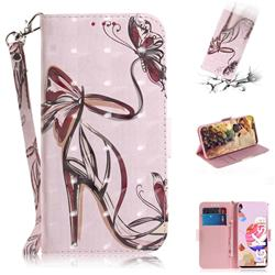 Butterfly High Heels 3D Painted Leather Wallet Phone Case for LG K51S