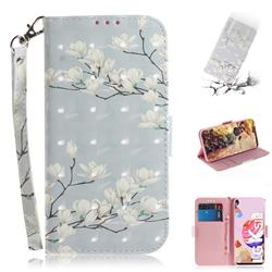 Magnolia Flower 3D Painted Leather Wallet Phone Case for LG K51S