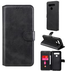 Retro Calf Matte Leather Wallet Phone Case for LG K51S - Black