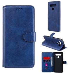 Retro Calf Matte Leather Wallet Phone Case for LG K51S - Blue