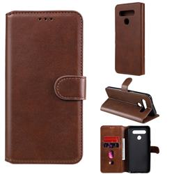 Retro Calf Matte Leather Wallet Phone Case for LG K51S - Brown