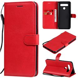 Retro Greek Classic Smooth PU Leather Wallet Phone Case for LG K51S - Red