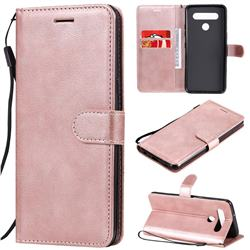 Retro Greek Classic Smooth PU Leather Wallet Phone Case for LG K51S - Rose Gold