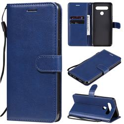 Retro Greek Classic Smooth PU Leather Wallet Phone Case for LG K51S - Blue