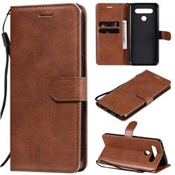 Retro Greek Classic Smooth PU Leather Wallet Phone Case for LG K51S - Brown