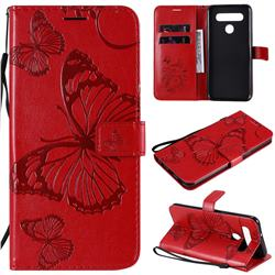 Embossing 3D Butterfly Leather Wallet Case for LG K51S - Red