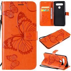 Embossing 3D Butterfly Leather Wallet Case for LG K51S - Orange
