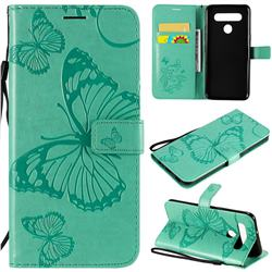 Embossing 3D Butterfly Leather Wallet Case for LG K51S - Green