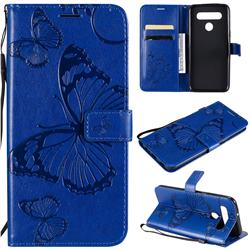 Embossing 3D Butterfly Leather Wallet Case for LG K51S - Blue