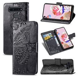 Embossing Mandala Flower Butterfly Leather Wallet Case for LG K51S - Black