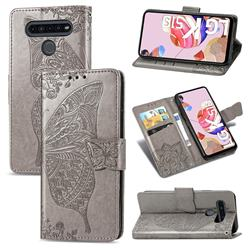 Embossing Mandala Flower Butterfly Leather Wallet Case for LG K51S - Gray
