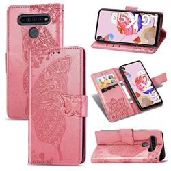 Embossing Mandala Flower Butterfly Leather Wallet Case for LG K51S - Pink