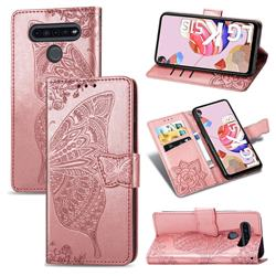Embossing Mandala Flower Butterfly Leather Wallet Case for LG K51S - Rose Gold
