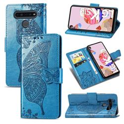 Embossing Mandala Flower Butterfly Leather Wallet Case for LG K51S - Blue