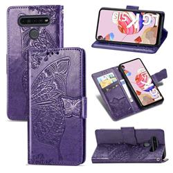 Embossing Mandala Flower Butterfly Leather Wallet Case for LG K51S - Dark Purple