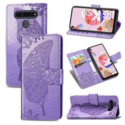Embossing Mandala Flower Butterfly Leather Wallet Case for LG K51S - Light Purple