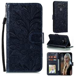 Intricate Embossing Lace Jasmine Flower Leather Wallet Case for LG K51S - Dark Blue