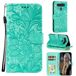 Intricate Embossing Lace Jasmine Flower Leather Wallet Case for LG K51S - Green