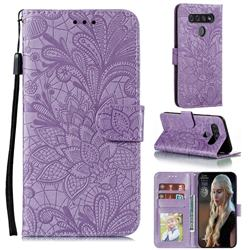 Intricate Embossing Lace Jasmine Flower Leather Wallet Case for LG K51S - Purple