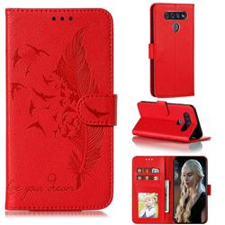Intricate Embossing Lychee Feather Bird Leather Wallet Case for LG K51S - Red