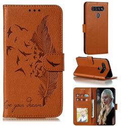 Intricate Embossing Lychee Feather Bird Leather Wallet Case for LG K51S - Brown