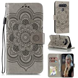 Intricate Embossing Datura Solar Leather Wallet Case for LG K51S - Gray