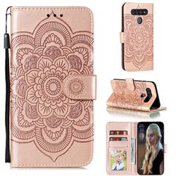Intricate Embossing Datura Solar Leather Wallet Case for LG K51S - Rose Gold