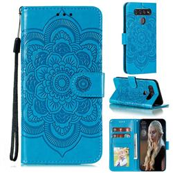 Intricate Embossing Datura Solar Leather Wallet Case for LG K51S - Blue