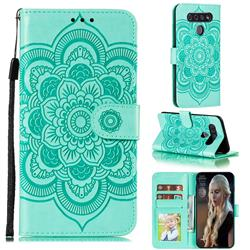 Intricate Embossing Datura Solar Leather Wallet Case for LG K51S - Green