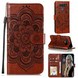 Intricate Embossing Datura Solar Leather Wallet Case for LG K51S - Brown