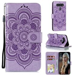 Intricate Embossing Datura Solar Leather Wallet Case for LG K51S - Purple