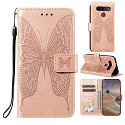 Intricate Embossing Vivid Butterfly Leather Wallet Case for LG K51S - Rose Gold