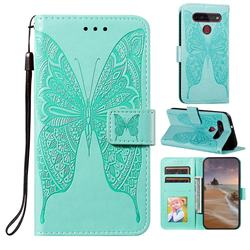 Intricate Embossing Vivid Butterfly Leather Wallet Case for LG K51S - Green