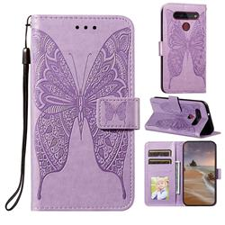 Intricate Embossing Vivid Butterfly Leather Wallet Case for LG K51S - Purple